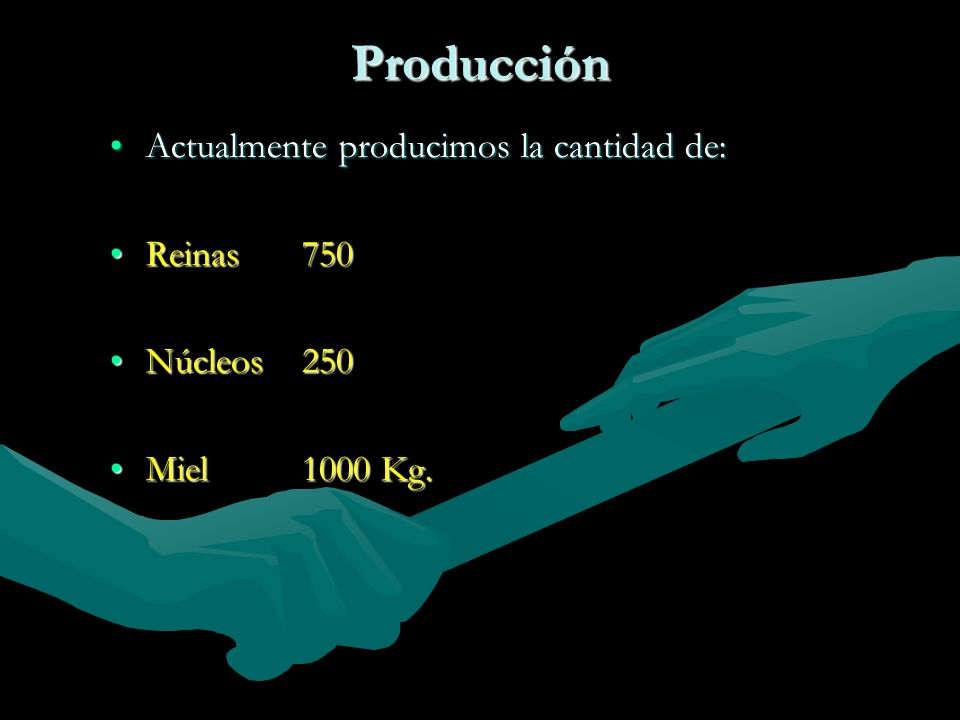 Producción Actualmente producimos la cantidad de: Reinas 750