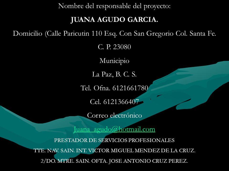 Nombre del responsable del proyecto: JUANA AGUDO GARCIA.
