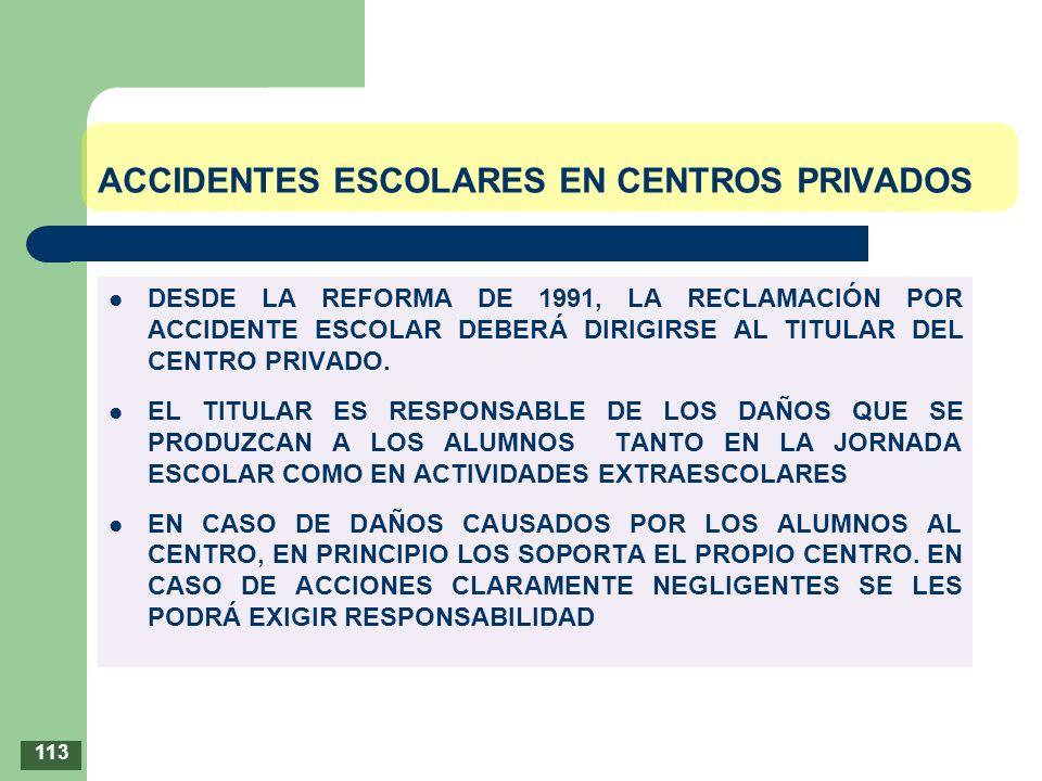 ACCIDENTES ESCOLARES EN CENTROS PRIVADOS