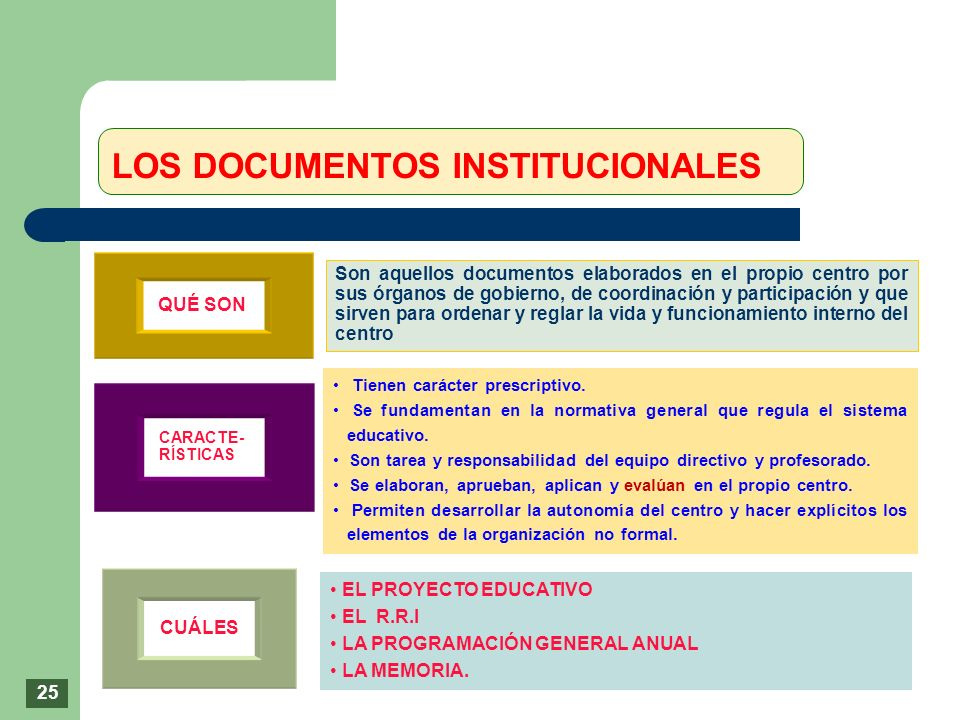 LOS DOCUMENTOS INSTITUCIONALES