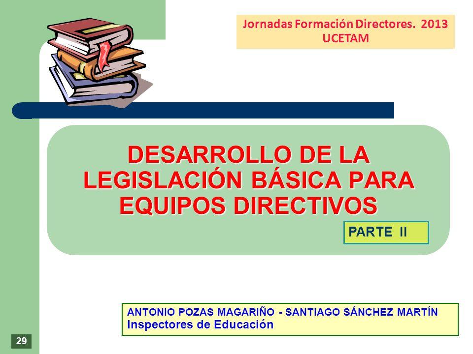 DESARROLLO DE LA LEGISLACIÓN BÁSICA PARA EQUIPOS DIRECTIVOS