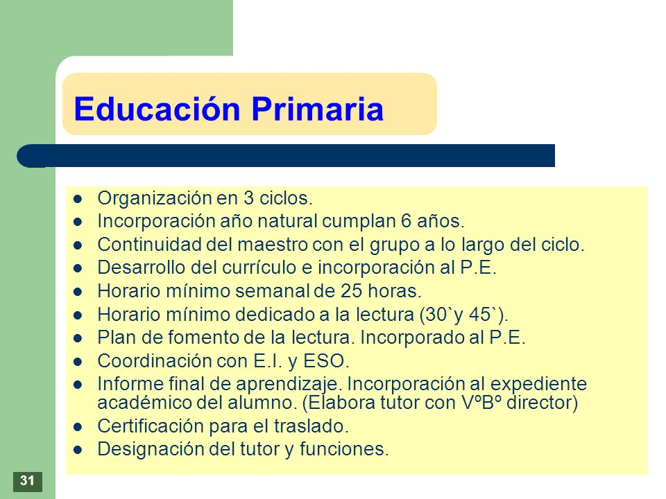Educación Primaria Organización en 3 ciclos.