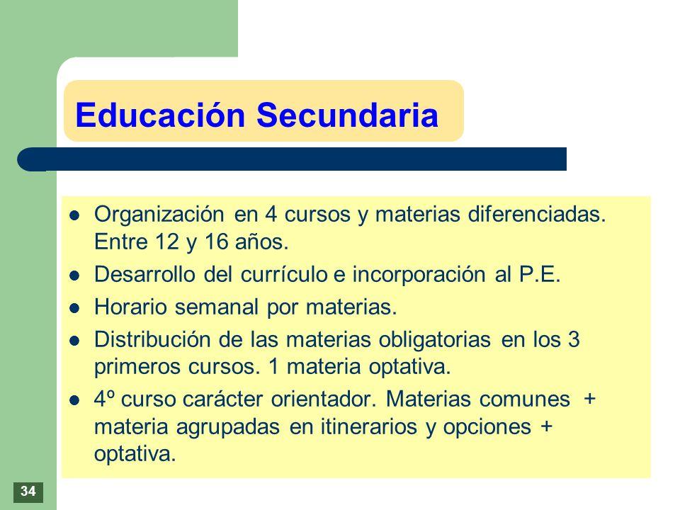 Educación SecundariaOrganización en 4 cursos y materias diferenciadas. Entre 12 y 16 años. Desarrollo del currículo e incorporación al P.E.