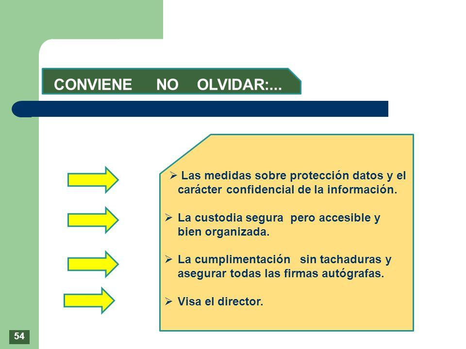 CONVIENE NO OLVIDAR:... Las medidas sobre protección datos y el carácter confidencial de la información.