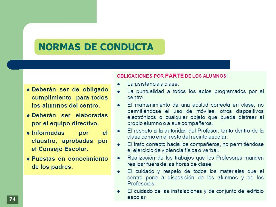 NORMAS DE CONDUCTAOBLIGACIONES POR PARTE DE LOS ALUMNOS: La asistencia a clase. La puntualidad a todos los actos programados por el centro.