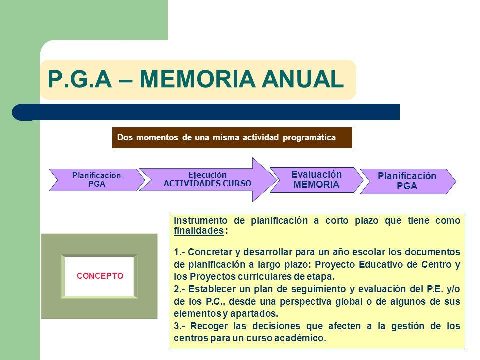 P.G.A – MEMORIA ANUAL Evaluación MEMORIA