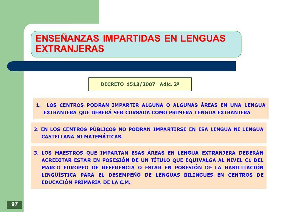 ENSEÑANZAS IMPARTIDAS EN LENGUAS EXTRANJERAS