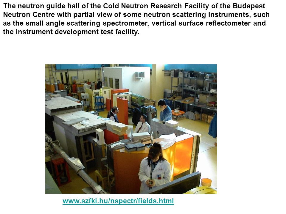 The neutron guide hall of the Cold Neutron Research Facility of the Budapest Neutron Centre with partial view of some neutron scattering instruments, such as the small angle scattering spectrometer, vertical surface reflectometer and the instrument development test facility.