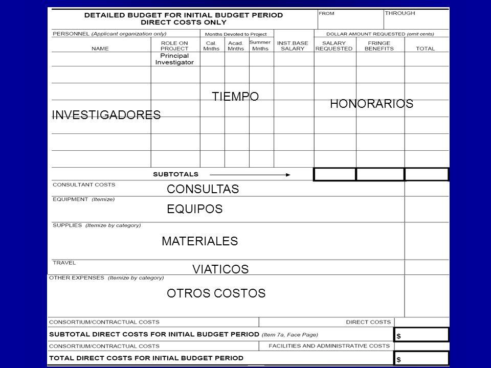 TIEMPO HONORARIOS INVESTIGADORES CONSULTAS EQUIPOS MATERIALES VIATICOS