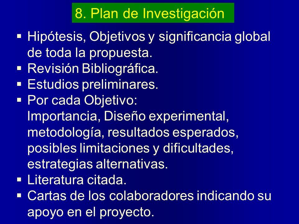 8. Plan de InvestigaciónHipótesis, Objetivos y significancia global de toda la propuesta. Revisión Bibliográfica.