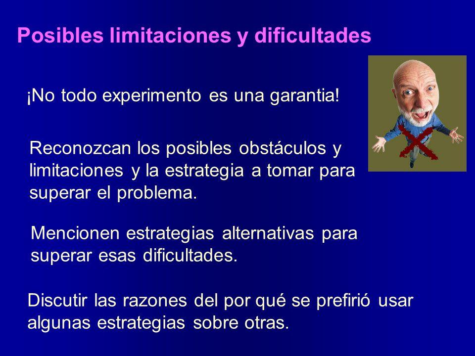 Posibles limitaciones y dificultades