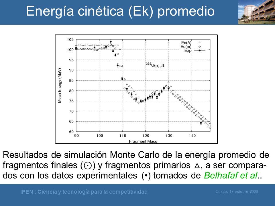 Energía cinética (Ek) promedio