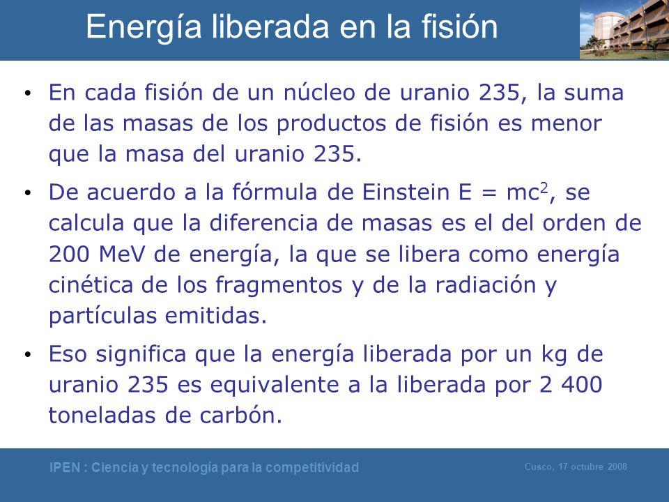 Energía liberada en la fisión