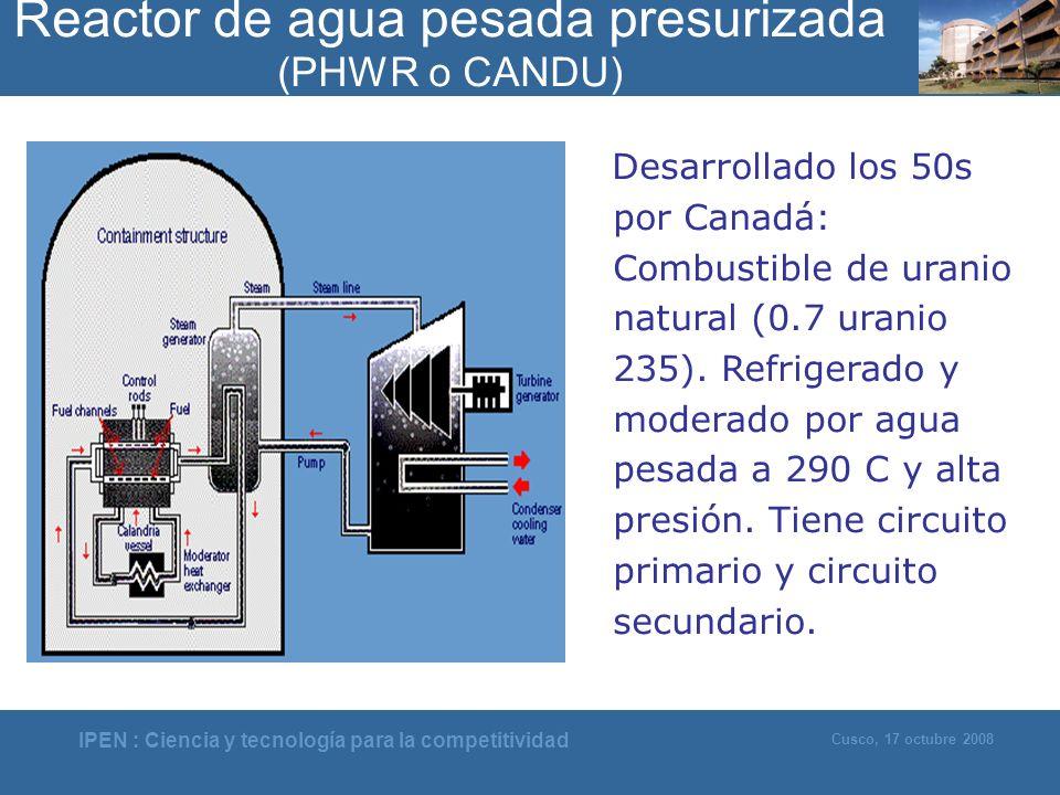 Reactor de agua pesada presurizada (PHWR o CANDU)