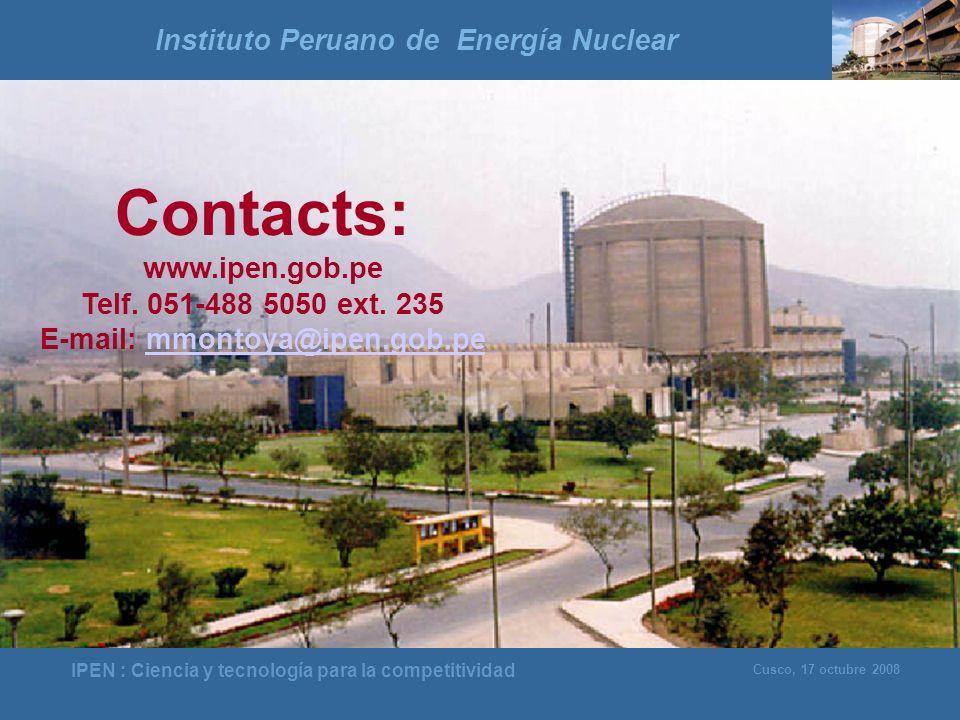 Instituto Peruano de Energía Nuclear E-mail: mmontoya@ipen.gob.pe
