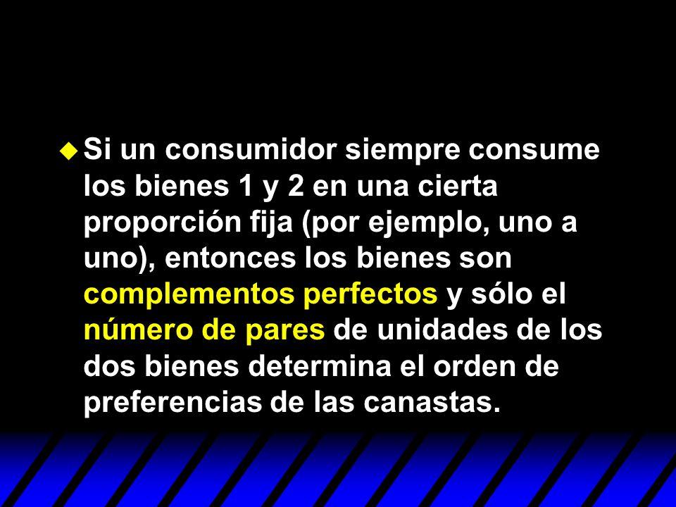 Si un consumidor siempre consume los bienes 1 y 2 en una cierta proporción fija (por ejemplo, uno a uno), entonces los bienes son complementos perfectos y sólo el número de pares de unidades de los dos bienes determina el orden de preferencias de las canastas.