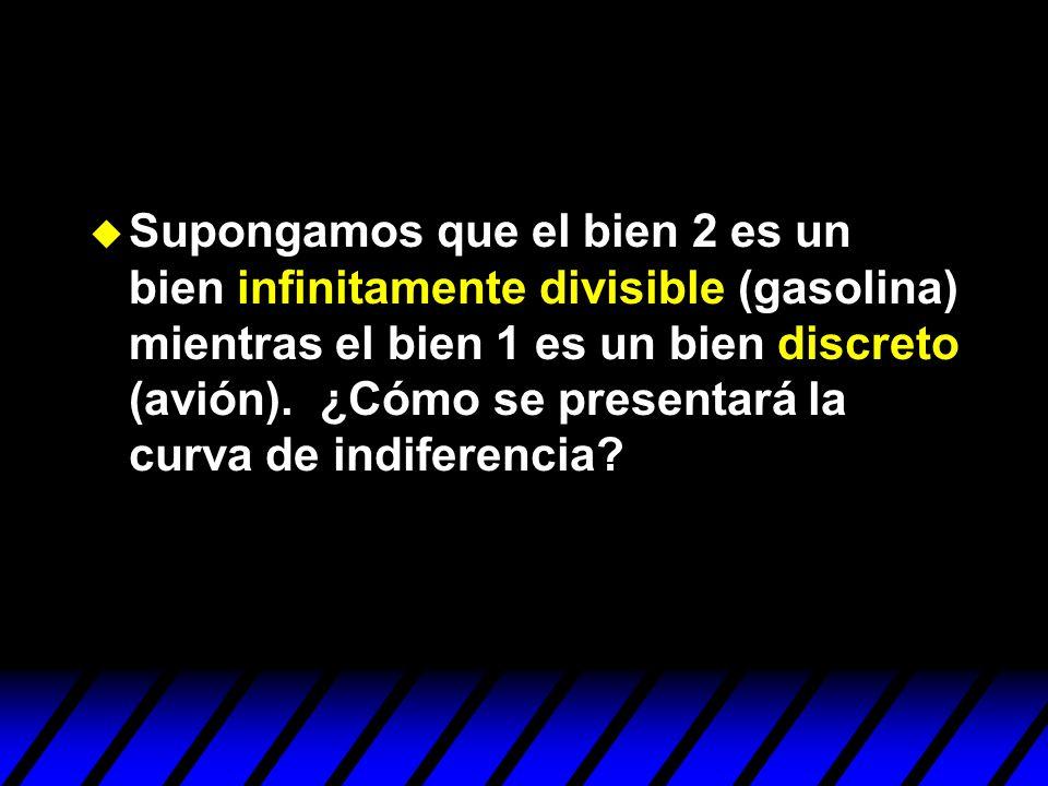 Supongamos que el bien 2 es un bien infinitamente divisible (gasolina) mientras el bien 1 es un bien discreto (avión).