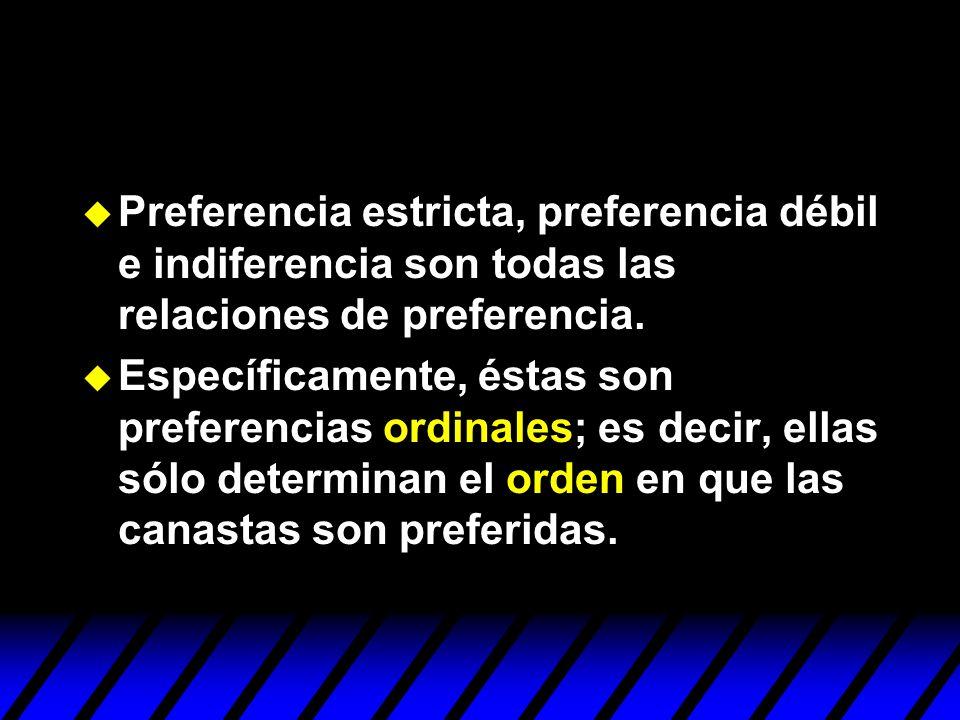 Preferencia estricta, preferencia débil e indiferencia son todas las relaciones de preferencia.