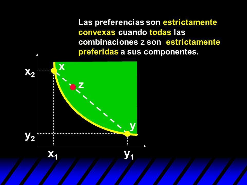 Las preferencias son estríctamente convexas cuando todas las combinaciones z son estríctamente preferidas a sus componentes.