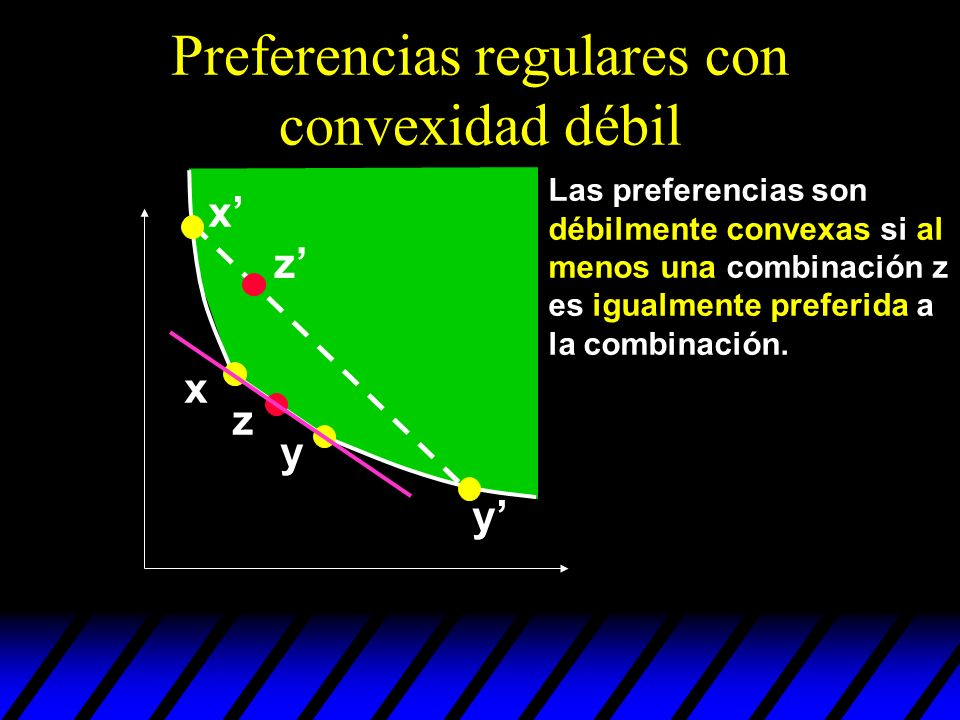 Preferencias regulares con convexidad débil