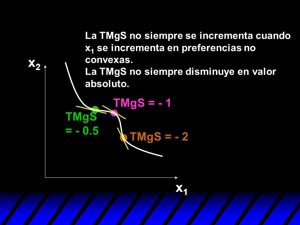 x2 x1 TMgS = - 1 TMgS = - 0.5 TMgS = - 2