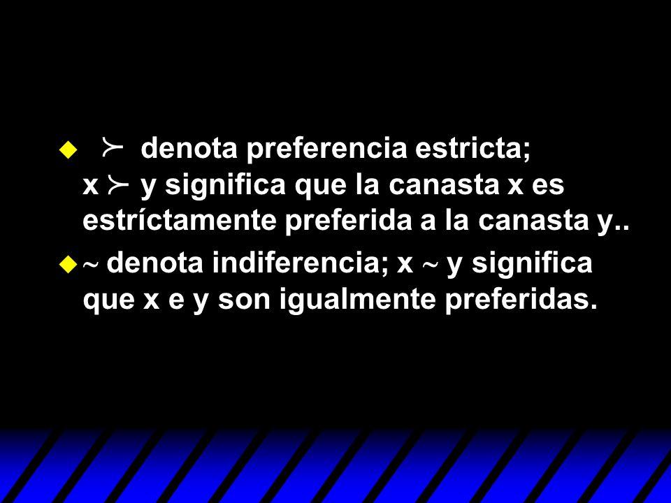 denota preferencia estricta; x y significa que la canasta x es estríctamente preferida a la canasta y..