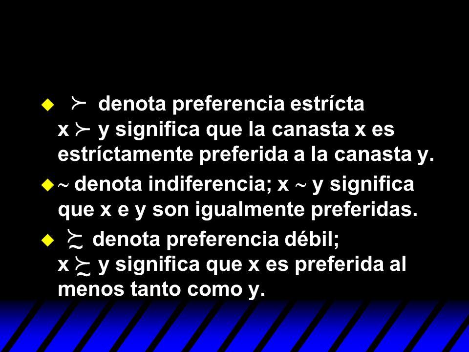 denota preferencia estrícta x y significa que la canasta x es estríctamente preferida a la canasta y.