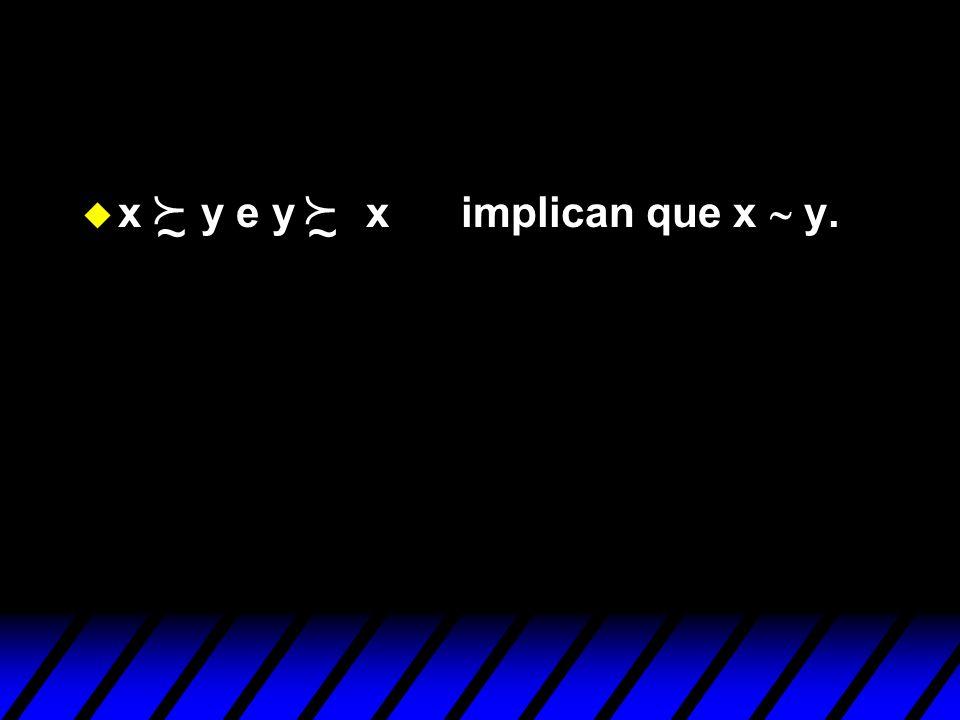 ~ f ~ f x y e y x implican que x ~ y.