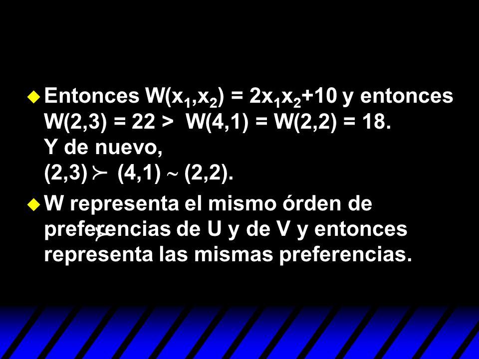 Entonces W(x1,x2) = 2x1x2+10 y entonces W(2,3) = 22 > W(4,1) = W(2,2) = 18. Y de nuevo, (2,3) (4,1) ~ (2,2).