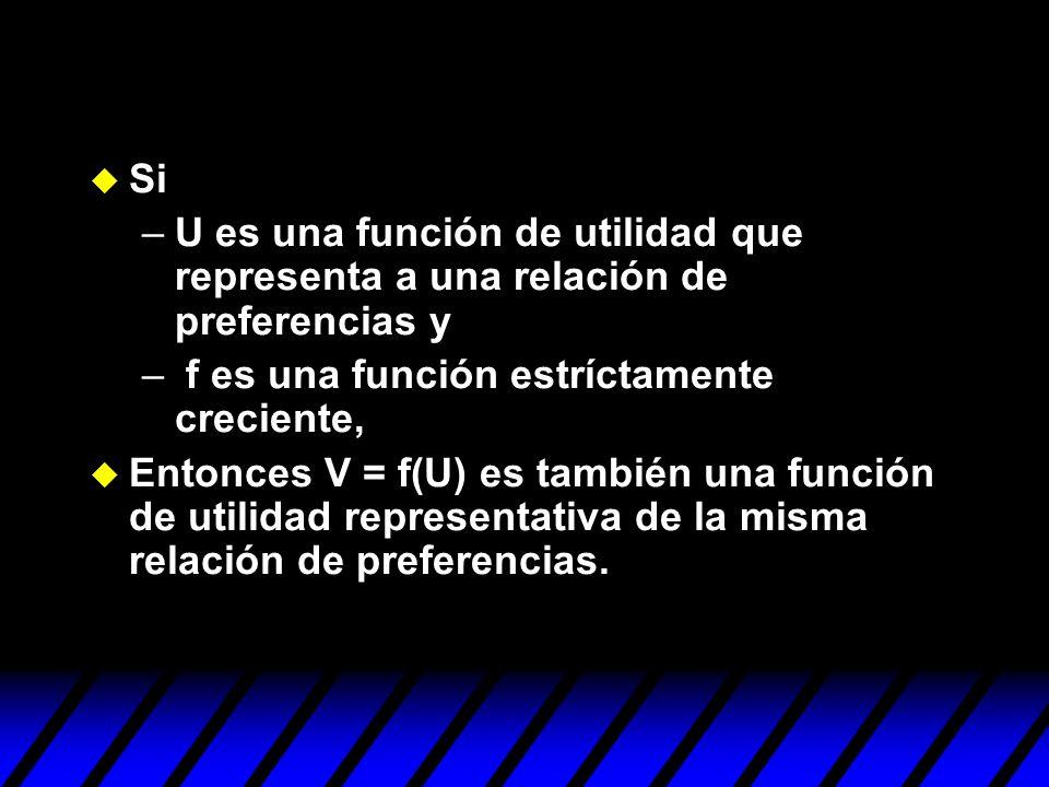 SiU es una función de utilidad que representa a una relación de preferencias y. f es una función estríctamente creciente,