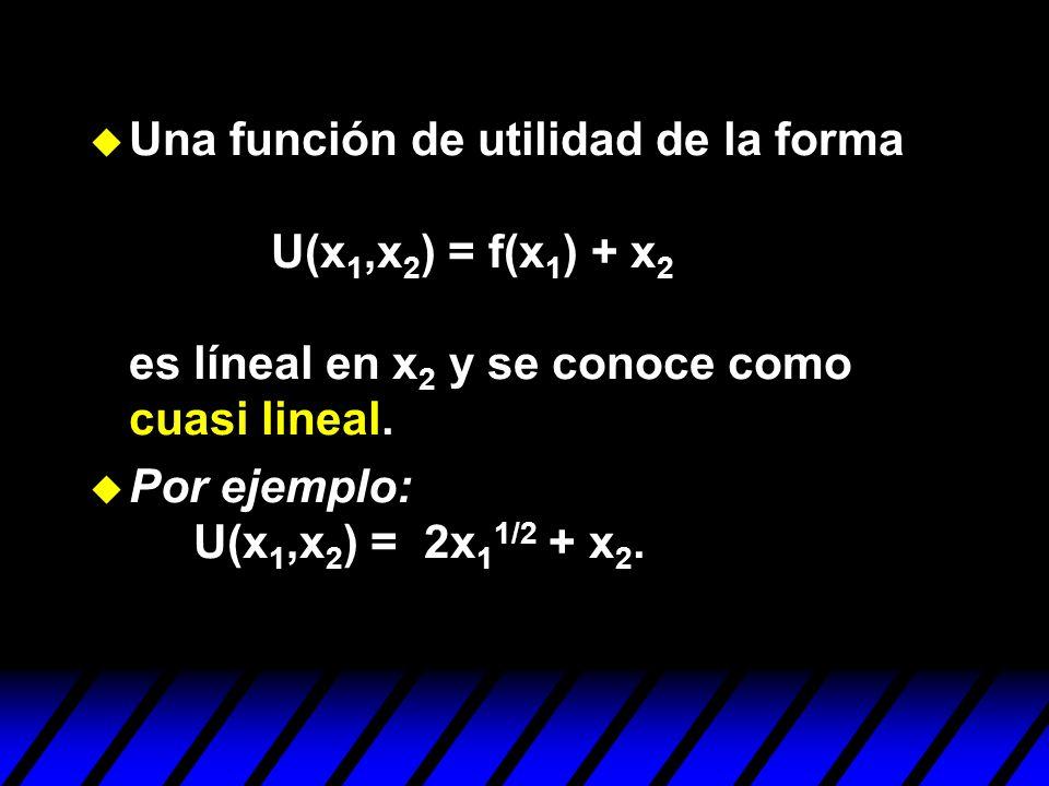 Una función de utilidad de la forma U(x1,x2) = f(x1) + x2 es líneal en x2 y se conoce como cuasi lineal.