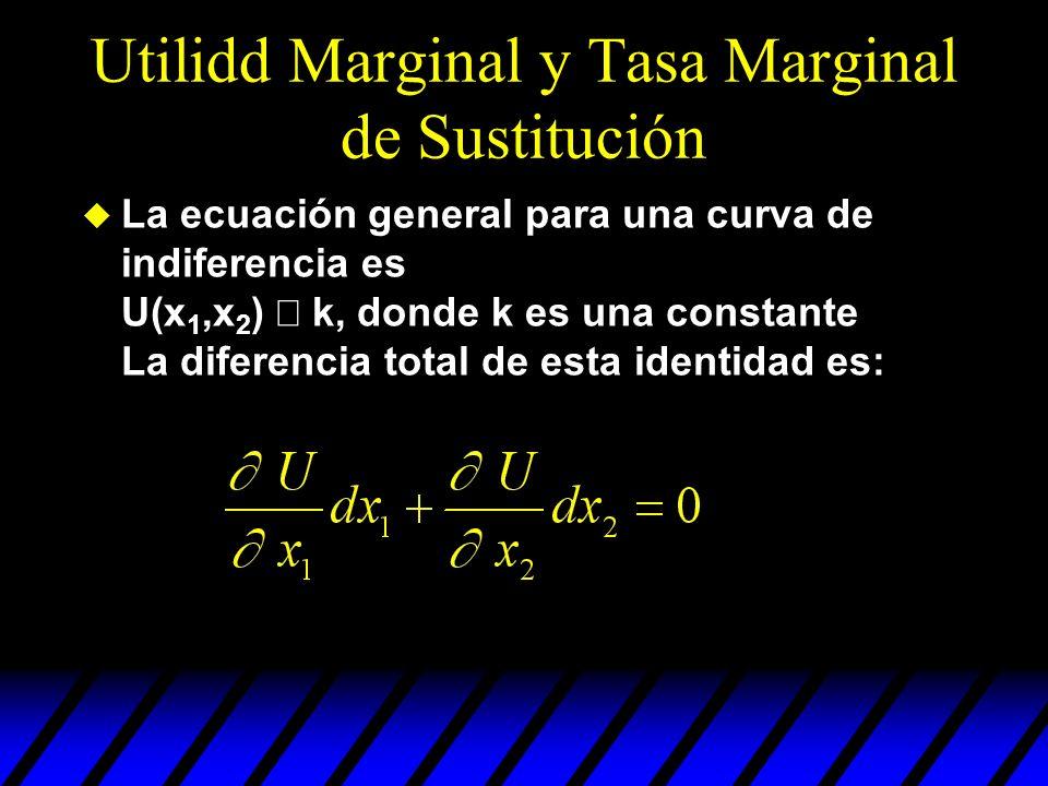 Utilidd Marginal y Tasa Marginal de Sustitución