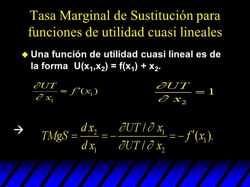Tasa Marginal de Sustitución para funciones de utilidad cuasi lineales