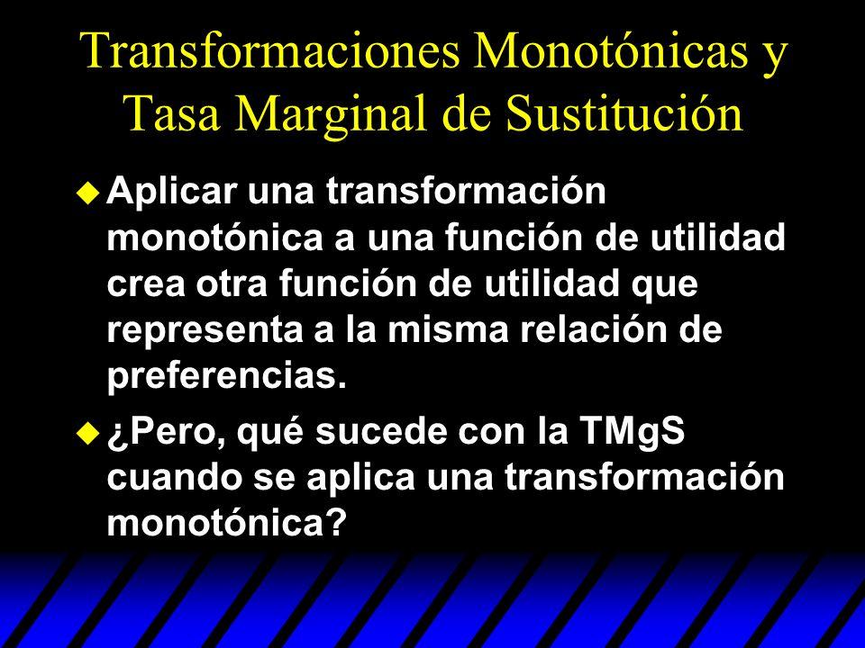 Transformaciones Monotónicas y Tasa Marginal de Sustitución