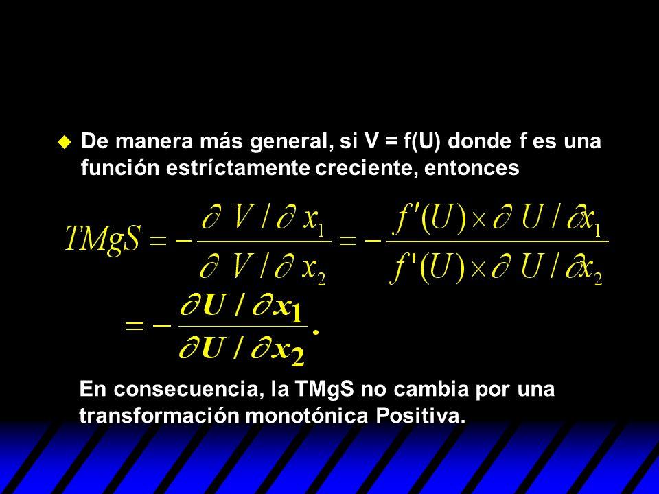 De manera más general, si V = f(U) donde f es una función estríctamente creciente, entonces