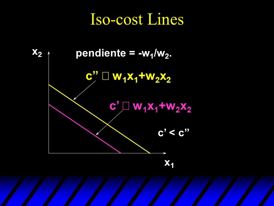 Iso-cost Lines c º w1x1+w2x2 c' º w1x1+w2x2 x2 pendiente = -w1/w2.