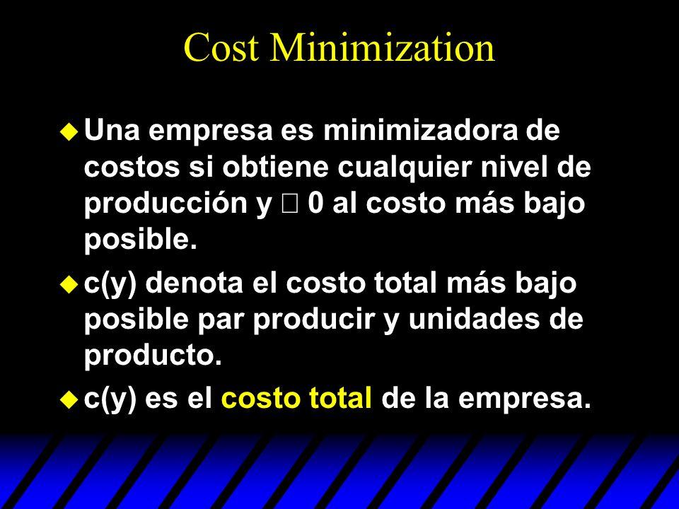 Cost Minimization Una empresa es minimizadora de costos si obtiene cualquier nivel de producción y ³ 0 al costo más bajo posible.