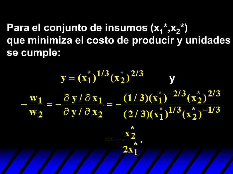 Para el conjunto de insumos (x1*,x2*)