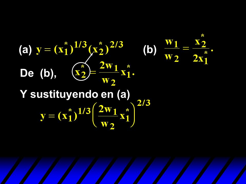 (a) (b) De (b), Y sustituyendo en (a)