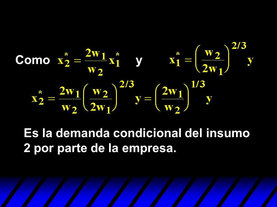 Como y Es la demanda condicional del insumo 2 por parte de la empresa.