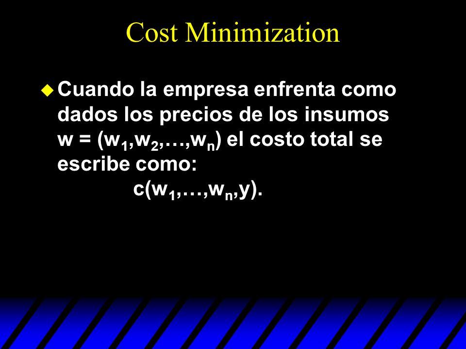 Cost Minimization Cuando la empresa enfrenta como dados los precios de los insumos w = (w1,w2,…,wn) el costo total se escribe como: c(w1,…,wn,y).