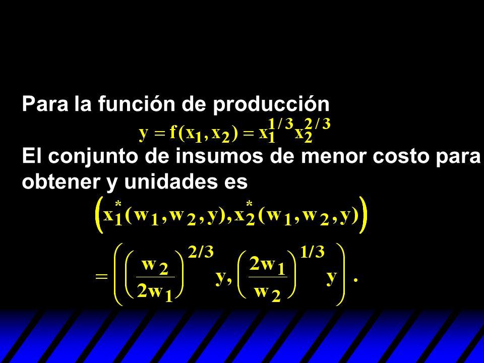 Para la función de producción