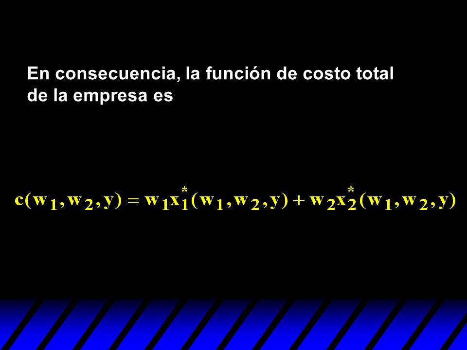 En consecuencia, la función de costo total