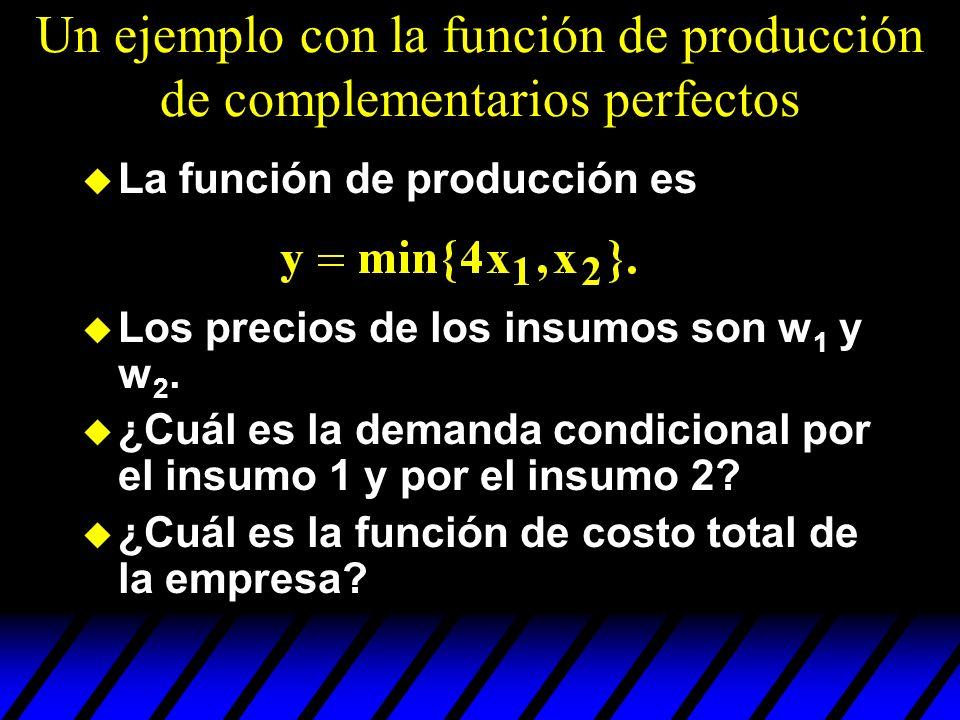 Un ejemplo con la función de producción de complementarios perfectos