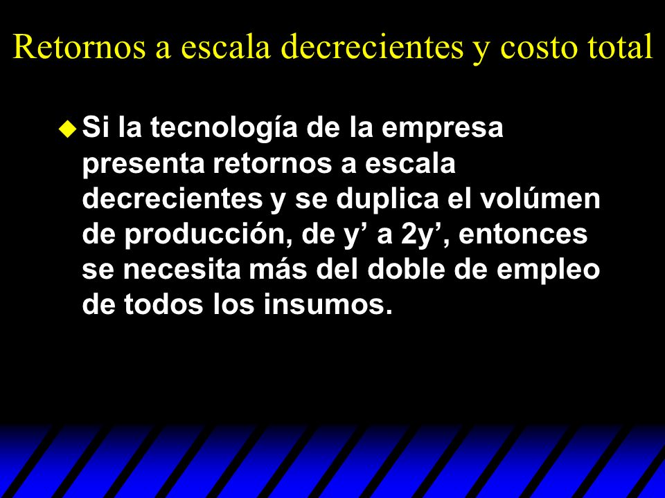 Retornos a escala decrecientes y costo total