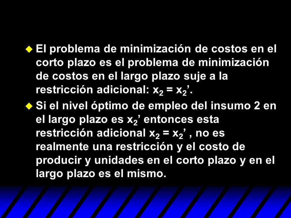 El problema de minimización de costos en el corto plazo es el problema de minimización de costos en el largo plazo suje a la restricción adicional: x2 = x2'.