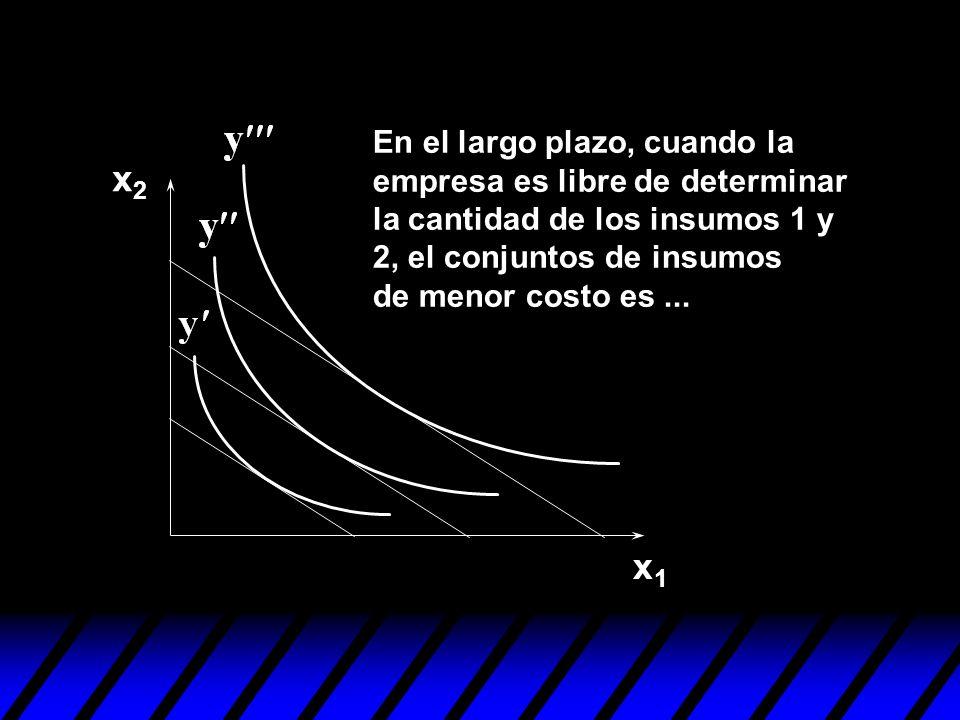 En el largo plazo, cuando la empresa es libre de determinar la cantidad de los insumos 1 y 2, el conjuntos de insumos de menor costo es ...