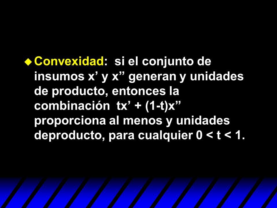Convexidad: si el conjunto de insumos x' y x generan y unidades de producto, entonces la combinación tx' + (1-t)x proporciona al menos y unidades deproducto, para cualquier 0 < t < 1.