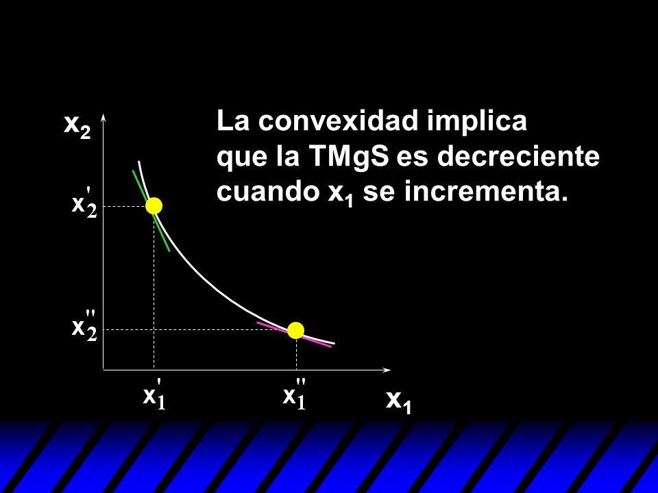 x2 La convexidad implica que la TMgS es decreciente cuando x1 se incrementa. x1