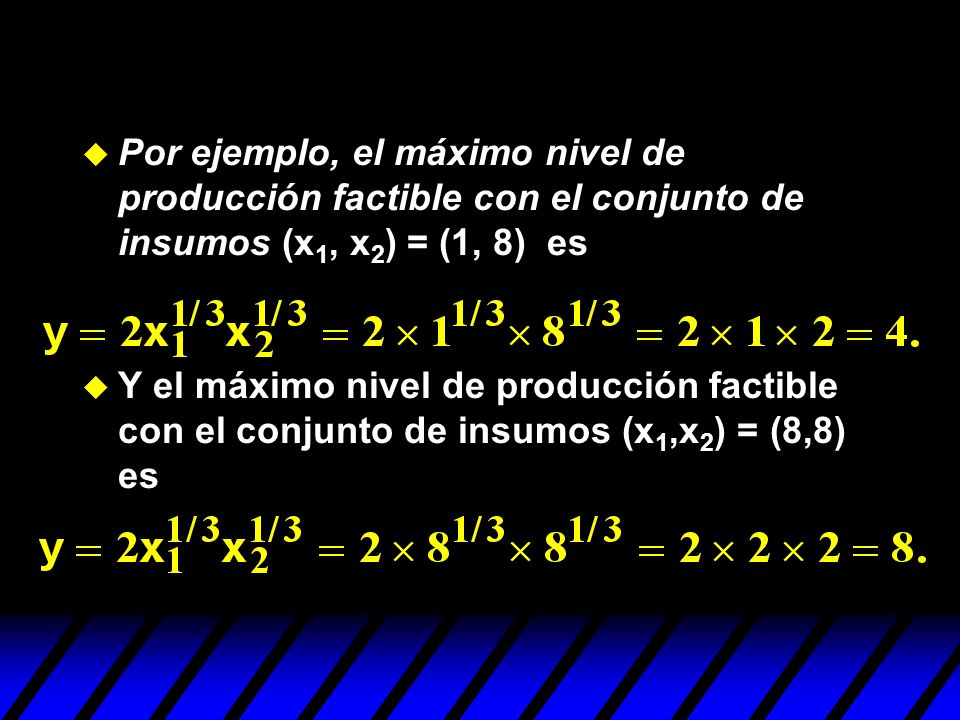 Por ejemplo, el máximo nivel de producción factible con el conjunto de insumos (x1, x2) = (1, 8) es